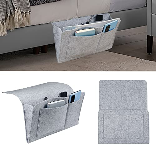 MDSTOP Bedside Caddy, Bedside Storage Bag, Under Couch Table Mattress Organizer, Fits for Book Tablet Magazine Phone Remotes Glasses (Light Grey, 8x12 inch)