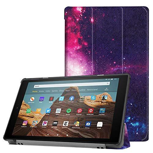 Capa ESSTORE-EU para tablet Fire HD 10 (tablet de 10,1 polegadas, 9ª/7ª geração – Versão 2019/2017), capa inteligente com suporte leve com hibernar/despertar automática – Galaxy