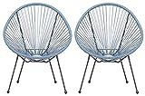 Lounge Sessel Veracruz | Acapulco Stuhl | 2er Set Hellblau/Grau | Gartensessel | Gartenstuhl | Witterungsbeständig | Sitzfläche aus Polyrattan | Für Innen Und Außen