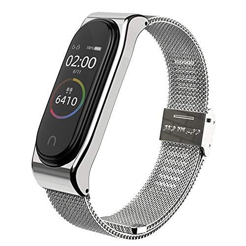 AHANGA Kompatibel mit für Xiaomi Mi Band 4 Armband, Mi Band 3 Milanese Ersatzband Wasserdicht Edelstahl Replacement Wrist Strap Band Erweiterbar Uhrenarmband Metall Schließe Handgelenk Band