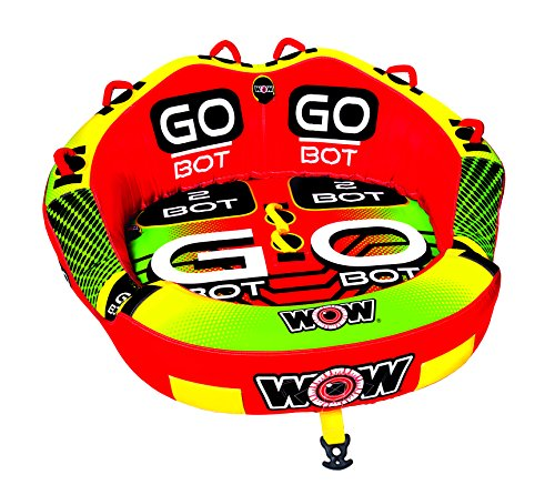 WOW Watersports Go Bot Towable, 1 to 2 Riders, Front and Back Tow Points, Towable Water Tube - Two Rides in One