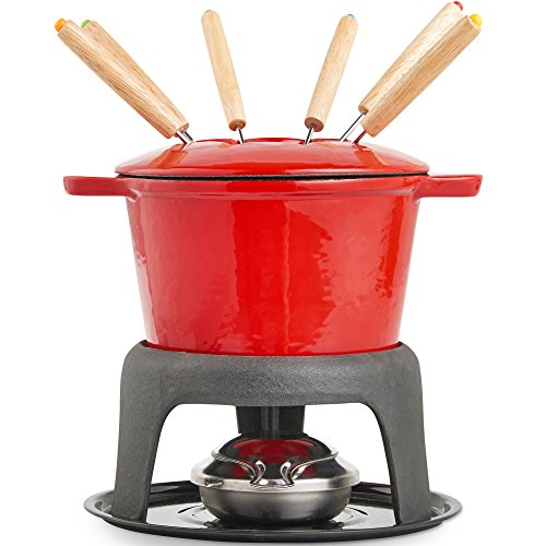 VonShef Fondue Set with 6 Forks Stylish Cast Iron Porcelain Enamel Pot Makes All Styles of Fondue Such as Cheese and Chocolate 63 fl oz Capacity 12pc Set...