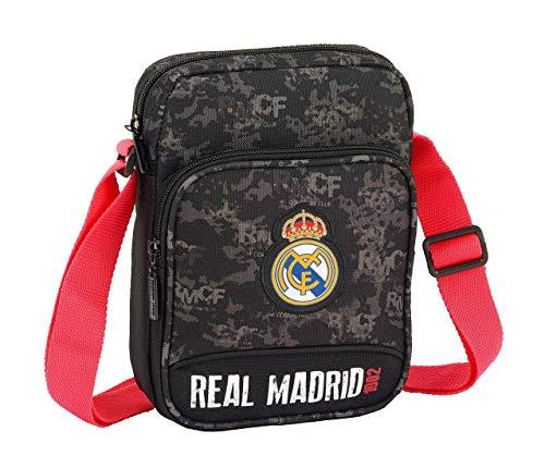 Real Madrid Black Oficial Bandolera con Bolsillo Exterior 160x60x220mm