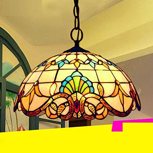 DEJ Pendent Lamp Vintage Design Salon Esszimmer Veranda Korridor Balkonzubehör Hängelampe Runde Pastorale Rustikale Glasmalerei Dekoration Decke Beleuchtung E27