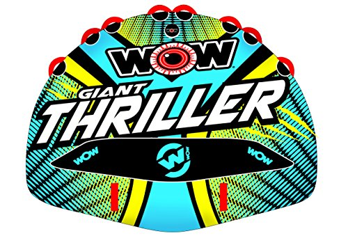 WOW World of Watersports Giant Thriller 1 2 3 or 4 Person Inflatable Towable Deck Tube for Boating | 18-1030