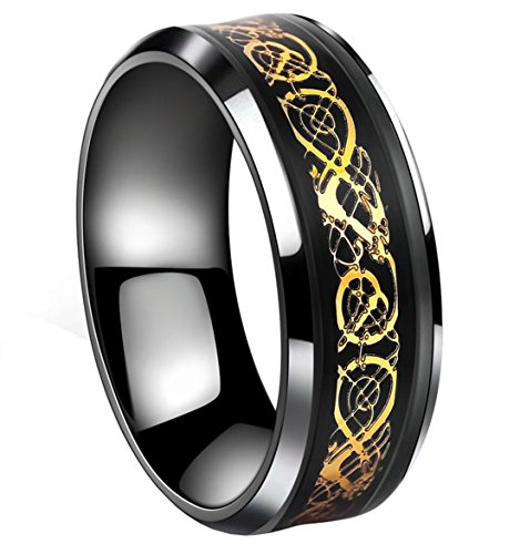 Tanyoyo Black Celtic Dragon Stainless Steel Ring Gold Color Wedding Band Jewelry Size 7-14 (12)