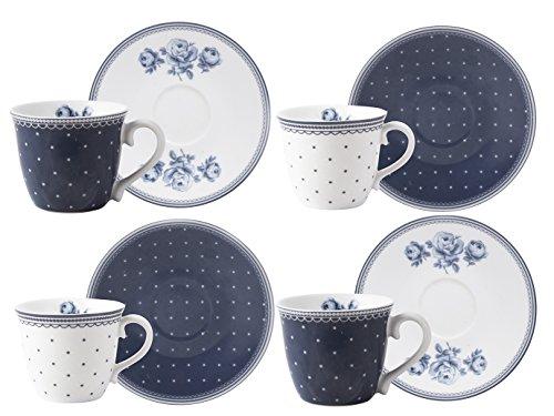 Katie Alice Vintage Indigo Tazzine da caffè e piattini, Blu, 4 Pezzi