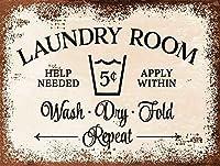 洗濯室。 ブリキサインヴィンテージ鉄塗装メタルプレートノベルティ装飾クラブカフェバー。