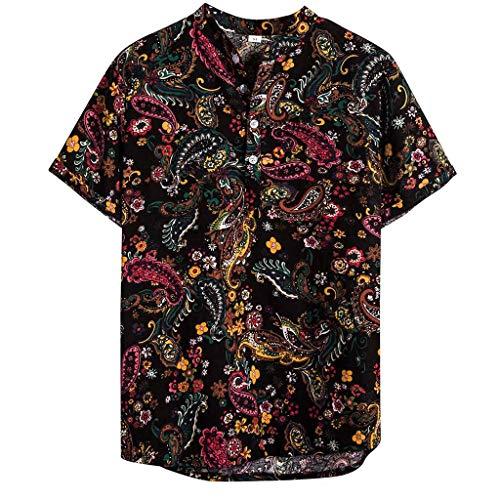 Camicia Uomo Vintage in Cotone Stampa anacardio Manica Corta Hawaii Top Colore (XXL,19- Multicolore)