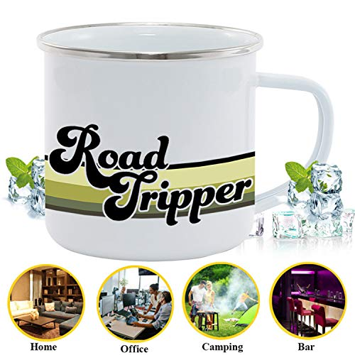 Product Image 5: FuanYuanfang Funny Camper Coffee Mug – ROAD TRIPPER Enamel Campfire Mug – Mountain Camping Coffee Cup, Nature Outdoor Hiking Birthday Christmas Camp Lover Gifts for Man, Woman, Friends 11oz