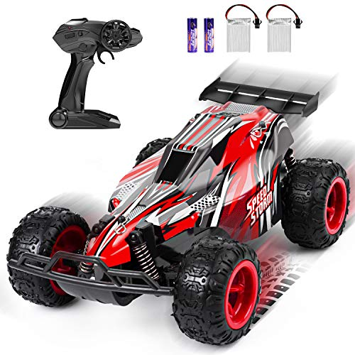 Product Image of the JEYPOD Remote Control Car, 2.4 Ghz High Speed Racing RC Car with 4 Batteries,...
