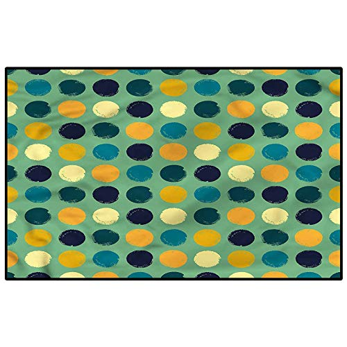 Retro Bedroom Rugs Patio Rug Rug pad Colorful Circles Abstract Home Decor Floor Carpet Child 4.5 x 5.2 Ft