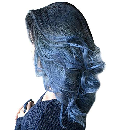 Women's Lace Front Wigs, 2019 Ladies Fashion Synthetic Long Curly Rose Net Human Hair Natural As Real Wigs Color Mixing Heat Resistant Fiber Costume Hair { 23.6 inches} (Blue)