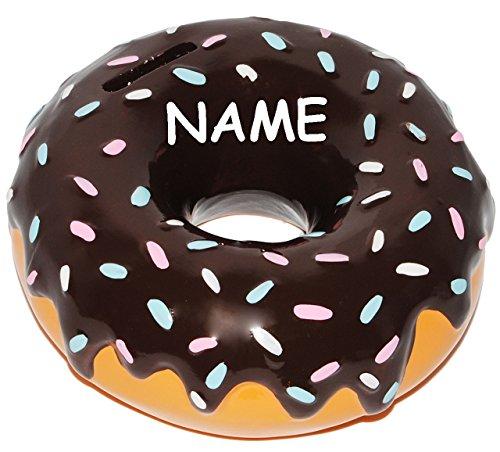 alles-meine.de GmbH XL - Spardose -  Donut - braune Schokolade  - incl. Name - stabile Sparbüchse aus Porzellan / Keramik - Gebäck - Sparschwein - für Kinder & Erwachsene / Jun..
