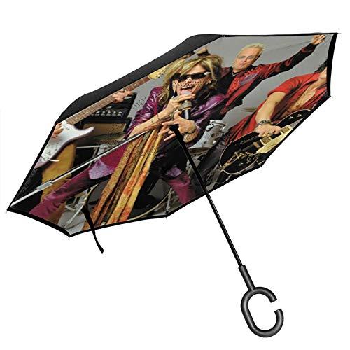 Aerosmith Paraguas inverso resistente al viento impermeable para coche al aire libre viajes adultos hombres mujeres