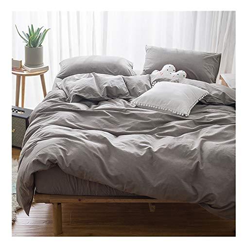 AXROAD MALL Neue Bettwäsche Einfache Nordic Wind Single Double Bettbezug Trampolin Einfache Farbe Baumwolle Vierteilig (Color : Gray, Size : 2.0m)