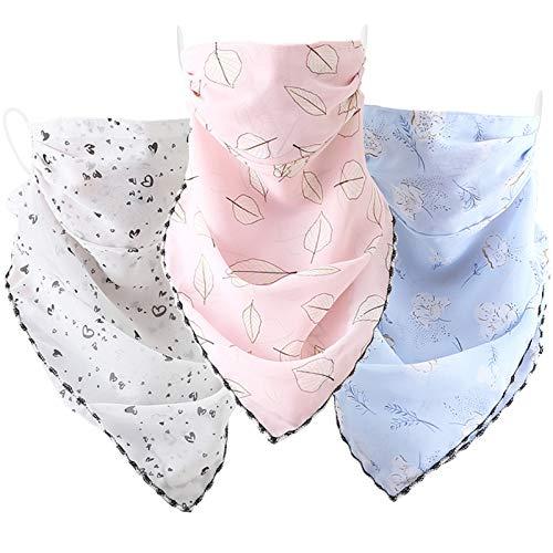 Oliver&Jay Chiffon Halstuch mit Mundschutz – Leichter Stoff in frischen Farben – ideal für den Sommer (weiß)