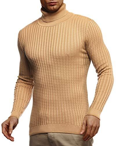 Leif Nelson Herren Strickpullover Warmer Pullover mit Rollkragen Rollkragenpullover für Männer Pulli für Winter Rolli LN2115 M Beige