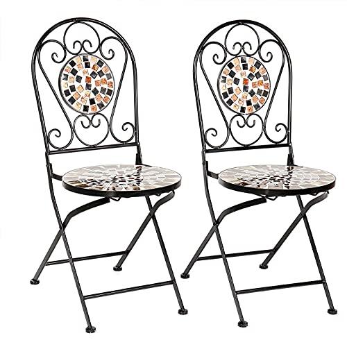 Wikidea Garten Bistro Stühle Sets, 2 klappbare Mosaik Esszimmerstuhl mit Rückenlehne, wetterfeste Metall Gartenmöbel Sitze für Patio Yard Balkon