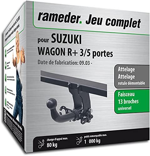 Rameder Pack, attelage rotule démontable + Faisceau 13 Broches Compatible avec Suzuki Wagon R+ 3/5 Portes (161786-04666-2-FR)