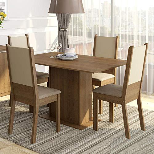 Conjunto Sala de Jantar Mesa e 4 Cadeiras Rita Madesa Rustic/Crema/Pérola