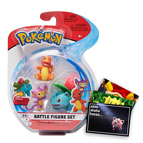 Lively Moments Pokemon Battle Pack 3er Figuren Set Bisaknosp, Glumanda & Griffel und Exklusive GRATIS Grußkarte