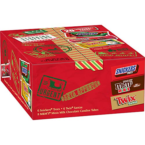 20 Pce. 21.60 oz M&M'S, SNICKERS, TWIX Assorted Candy Christmas Santa Box $8.00 at Amazon