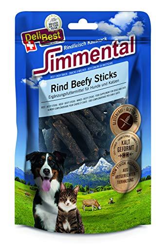 DeliBest Simmental Rind Beefy Sticks I Gesunde Rindfleisch Kausnacks für Hunde & Katzen I Schweizer Fleisch gesund & bekömmlich I Hoher Fleischanteil I Ohne Zusatzstoffe I leckere Hundesnacks 90g