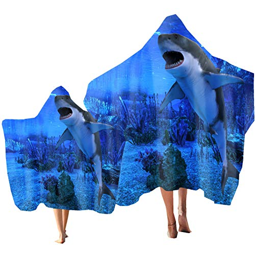 Oceano Animal Toalla de Playa Toalla con Capucha Delfín Tiburón Impresión Poncho Bata de Baño Padre-Hijo Toalla Nadar Navegar Playa Vacaciones Niños Adulto (Color 3, Niño: 130 × 150 cm)