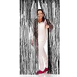Amakando Colgador Puerta Decorativo Cortina Puerta Halloween 1x 2 m Negro Ornamentación Cabello de ángel Estor de Hilo Elemento con Hilos Decoración Fiesta