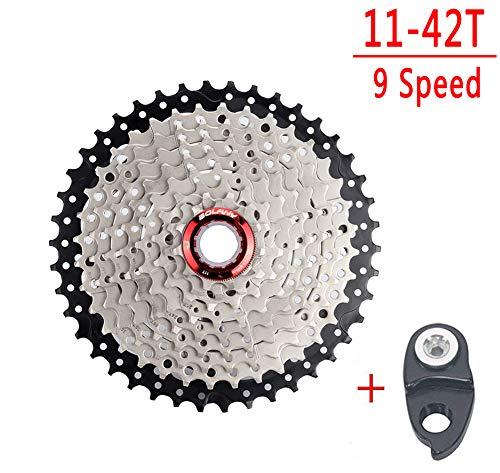 Cassetta a 9 velocità 11-32T 11-36T 11-40T 11-42T 11-46T 11-50T MTB rapporto di trasmissione 9 velocità e pignone per mountain bike, MTB, BMX, SRAM Shimano Sunrace (9 velocità 42T).