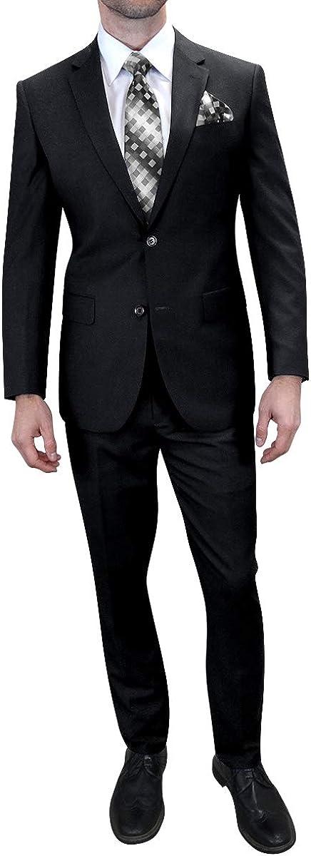 Mens 2PC Black Formal Dress Business Suit Modern Fit 2 Button Blazer Jacket Pant