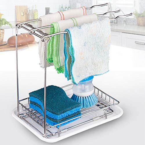 Jinhuaxin Organizador vertical sink organizador para fregadero de cocina, superficie de trabajo no perforada, barra vertical, soporte de esponja con bandeja colectora para cepillo de fregadero