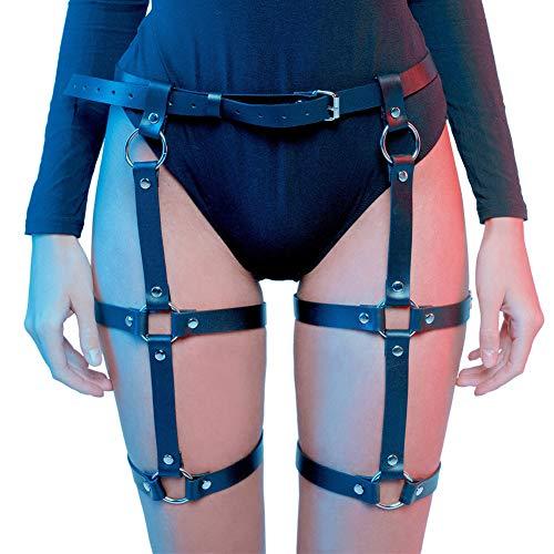 HOMELEX Arnés de pierna para muslo enjaulado ligas Harajuku cintura gótica anillos cinturón para trajes Rave