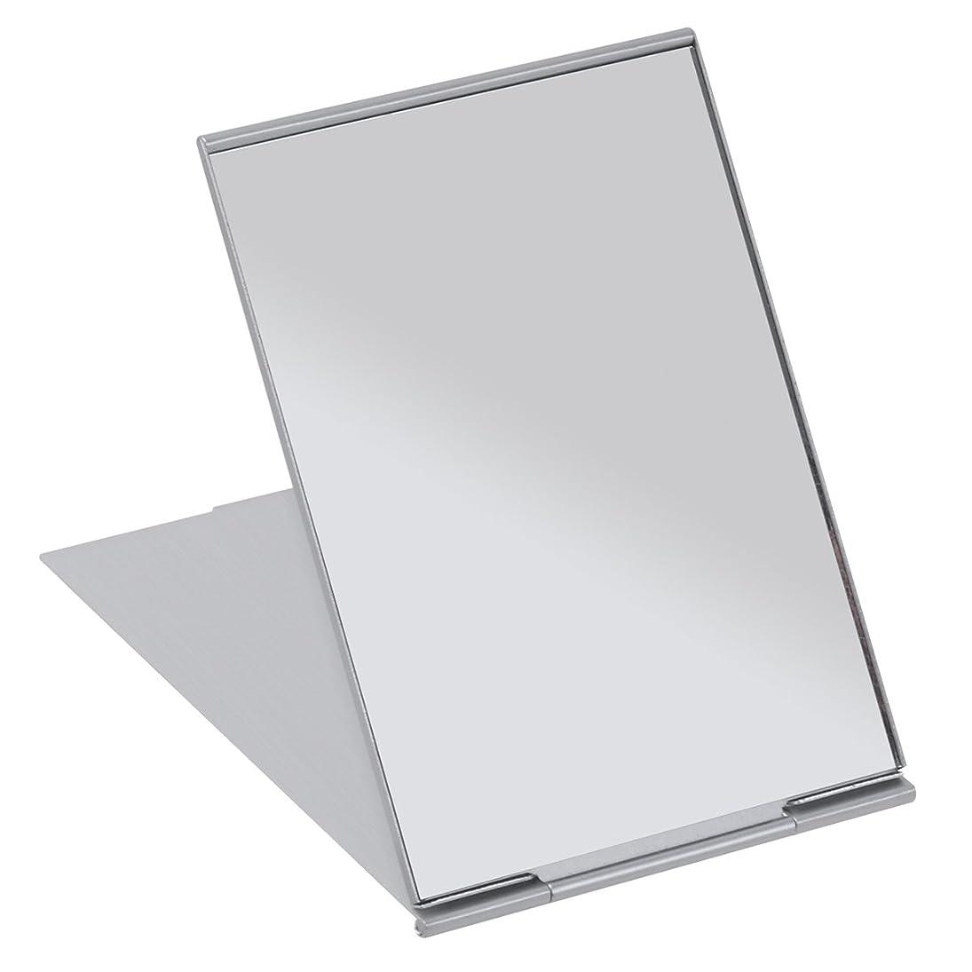 道路ベーリング海峡空FRCOLOR 化粧鏡 携帯ミラー 折りたたみミラー 化粧ミラー コンパクトミラー 11.5*8cm 持ち運びに便利 (シルバー)