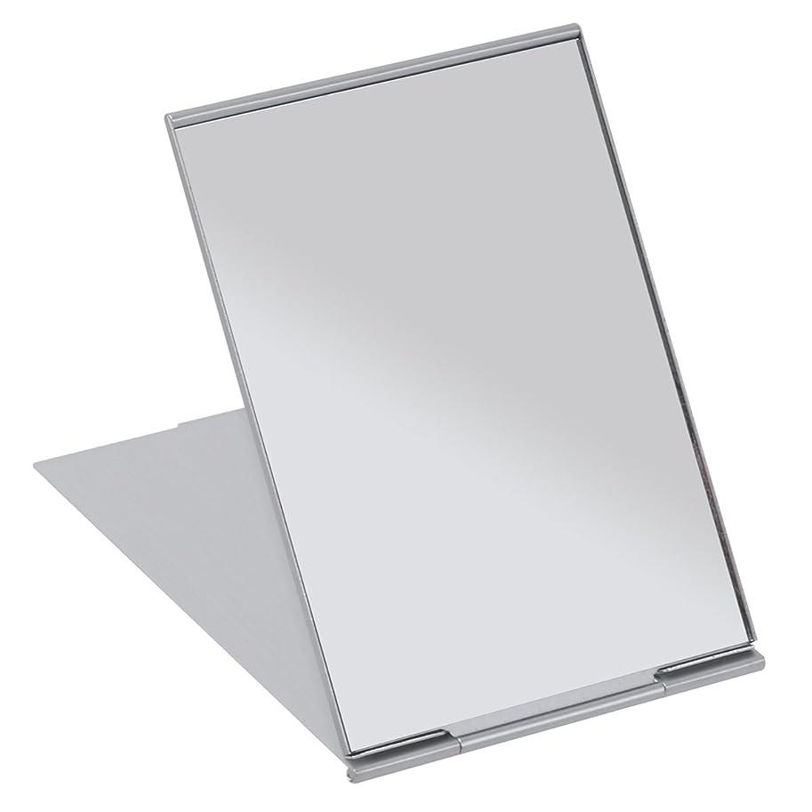 素子駐地洗剤FRCOLOR 化粧鏡 携帯ミラー 折りたたみミラー 化粧ミラー コンパクトミラー 11.5*8cm 持ち運びに便利 (シルバー)