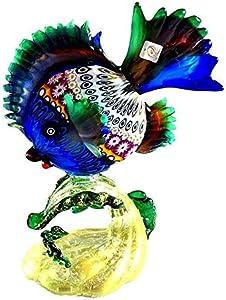 YourMurano, Escultura de cristal de Murano, Forma de pez tropical, Cristal azul y verde, Representación de animales, Vidrio soplado a mano, MATIS