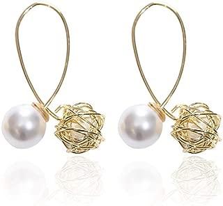 Metal Gold Knot Geometric Irregular Natural Freshwater Pearl Long Drop Earrings for Women Girl Party Jewelr