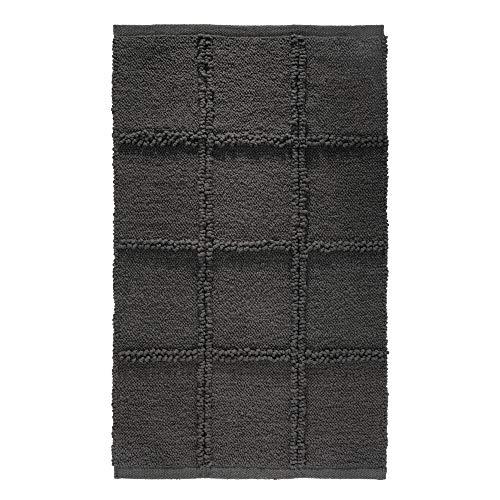iDesign Grid tapis de bain doux, sortie de douche rectangulaire en coton, gris anthracite