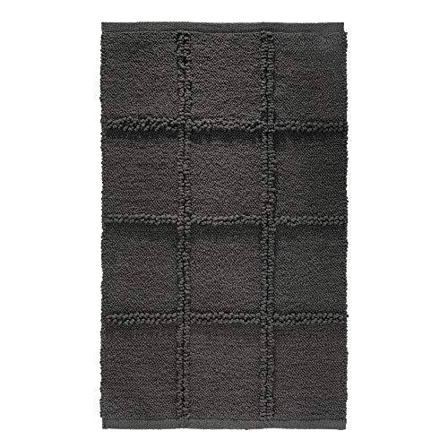Price comparison product image iDesign Grid Bathroom Mat,  Rectangle-Shaped Small Rug Made of Cotton,  Charcoal Grey,  53.3 cm x 86.4 cm