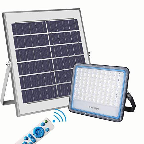100W Faro LED Solare da Esterno Luce Bianca 6000K Faretto a Pannello Solare con Telecomando Materiale in Alluminio Impermeabile IP67 5000lm di Energia Fotovoltaica