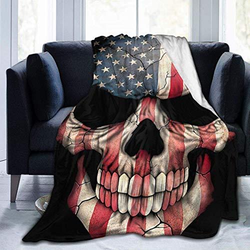Fleece Blanket Bandera Americana Cráneo PNG Cálido Especial 102X127Cm Franela Fleece Manta Silla Manta Ligero Acogedor para Todas Las Estaciones Sofá Cama Hogar Suave para Sala De