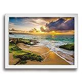 Yanghl 美しいハワイアンサンセット アートパネル フォトフレーム フレーム装飾画 アートポスター アートボード アートポスター インテリア 装飾画 壁掛け おしゃれ 部屋飾り キャンバス Arts モダン 木枠セット