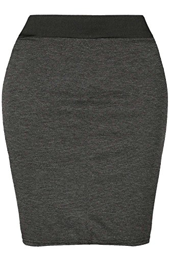 Damen Vichy-druck PVC Kunstleder PU Dehnbar Körperbetont Kurzer Mini Schlauchrock Übergröße - Band Minirock Dunkelgrau, 36/38