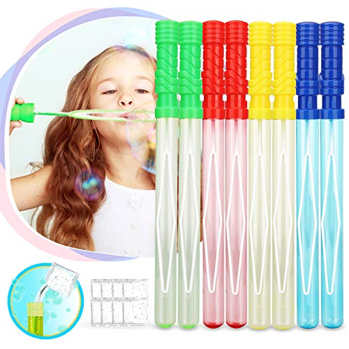 TOY Life Large Bubble Wands and Bubble Wand Party Favors for Kids and Weddings   8 Pack   Each Bubble Set Contains 4 Colors   14 Large Bubble Sticks   Big Bubble Wands