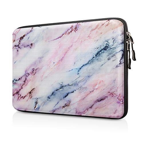 FINPAC 13-inch Hard Shell Laptop Sleeve Case for 13.3' MacBook Pro/Air, Surface Laptop 3/2, Dell Inspiron 13/XPS 13, Shockproof &Water-Resistant Notebook Carrying Case Cover Protective Bag,Marble Pink