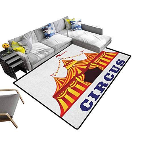 Indoor/Outdoor Rug Circus, Shag Fur Carpet Illustration of Old Striped Tent in Retro Style Old Fashion Joy Theater Art for Bedroom Playroom Nursery, Best Shower Gift Red Yellow White, 3 x 5 Feet