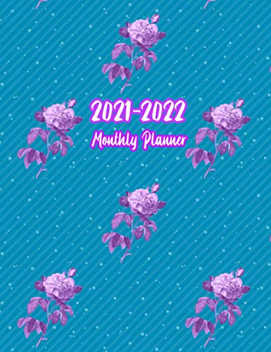 2021-2022 Monthly Planner: Large Two Year Planner Calendar Schedule Organizer 24 Months Agenda with Holidays with Blue Sky and Purple Floral Cover 8.5 x 11 (2021-2022 Planner, Band 3)