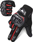 kemimoto Motorcycle Gloves, Summer Motorcycle Riding Gloves for Men and Women, Touchscreen Breathable Motorbike Gloves for Motorcross Racing BMX MTB Cycling with Hard Knuckle (Red, X-Large)