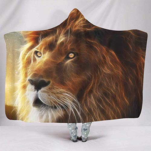 JONINOT Manta Siesta Felpa Sofás Hooded Cool Lion Starry Sky Rey de los Animales W102cmXL127cm Buen sueño